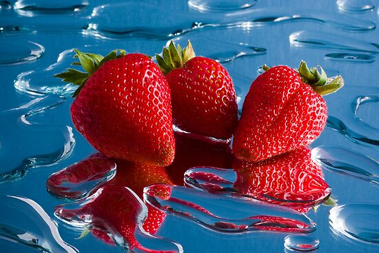 Three Strawberries by John Quixley