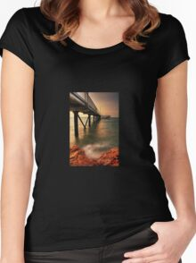 """Knightcliffe Jetty"" - at sunset - Darwin Women's Fitted Scoop T-Shirt"