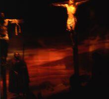 Jesus on the cross by Jeffrey  Sinnock