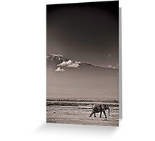 Walking by Kili - Amboseli National Park - Kenya Greeting Card