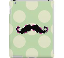Moustache, Polka Dots, Stripes - Black Green Pink iPad Case/Skin