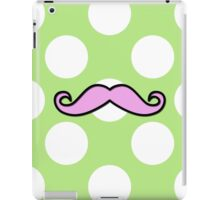 Curly Moustache, Polka Dots - Black Pink Green iPad Case/Skin