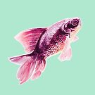 Magneta Fish on Mint  by ThistleandFox