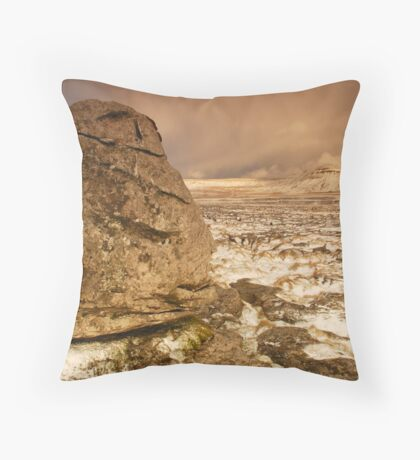 Ingleborough from Scales Moor, Ingleton, Ribblesdale, Yorkshire Dales Throw Pillow