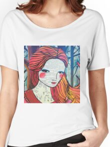 Little Red modern red portrait Women's Relaxed Fit T-Shirt