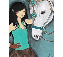 Woman with her pet horse Photographic Print