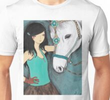 Woman with her pet horse Unisex T-Shirt