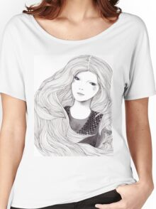 Catching A Moment Fashion Illustration Portrait Women's Relaxed Fit T-Shirt