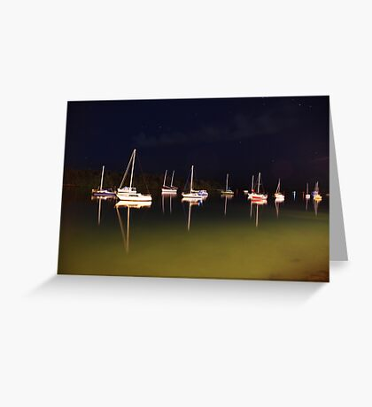 Moored under stary skies Greeting Card