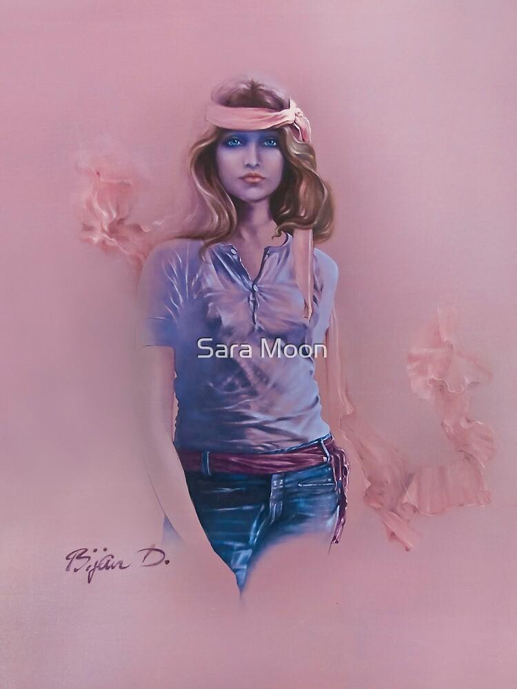 """Blue Eyes"" Oil on Canvas by Sara Moon"