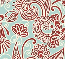 Oriental Persian Paisley, Swirls - Red Blue  by sitnica