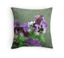 Purple Pansy Pot Throw Pillow