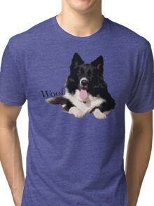 Woof - Border Collie Tri-blend T-Shirt