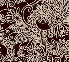 Oriental Persian Paisley, Swirls - Red Beige  by sitnica