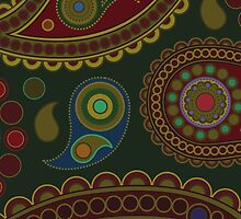 Oriental Persian Paisley, Dots - Blue Green Red  by sitnica