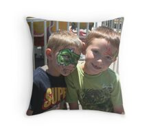 Painted Faces at the Fair! ( brothers!)  Throw Pillow