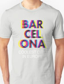 Barcelona Glitch Psychedelic Coolest City in Europe T-Shirt