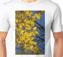 Sapphire and Gold - Blue Sky, Golden Leaves & Bright Sunlight Unisex T-Shirt