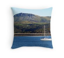 A view of Cader Idris from Barmouth, North Wales Throw Pillow