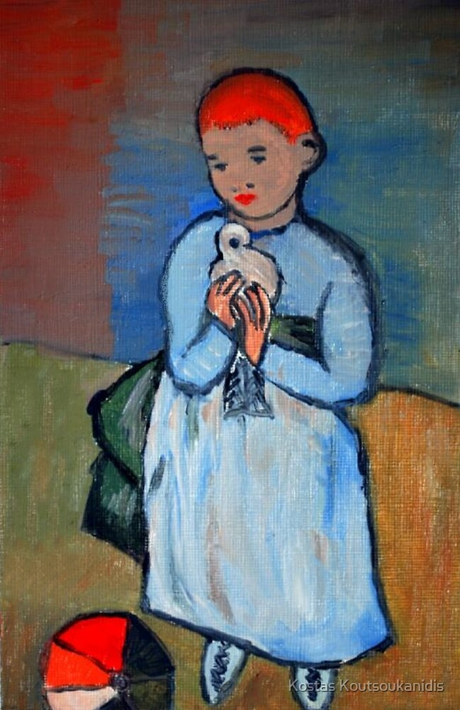 girl with dove after Picasso by Kostas Koutsoukanidis