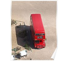 Red Double Decker Bus from above Poster