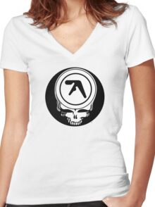 Aphex Twin / Grateful Dead Steal Your Face  Women's Fitted V-Neck T-Shirt