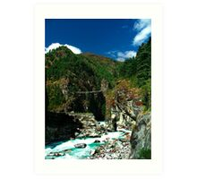 Highest suspension Bridge in Nepal Art Print