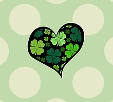 Saint Patrick's Day, Clovers, Heart - Green Black by sitnica
