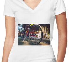 BIKE ON WHITEHALL Women's Fitted V-Neck T-Shirt