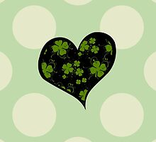 Saint Patrick's Day, Swirls, Heart - Black Green by sitnica