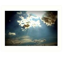 Blue skies with clouds sunlight shining through Art Print