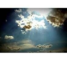 Blue skies with clouds sunlight shining through Photographic Print