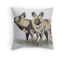 African Hunting Dogs - Drawing Day 2010 Throw Pillow