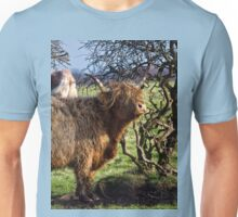 Highland Cattle and a gnarled tree Unisex T-Shirt
