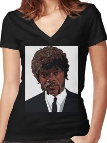 SAMUEL L. JACKSON PULP FICTION GRAPHIC TSHIRT Women's Fitted V-Neck T-Shirt