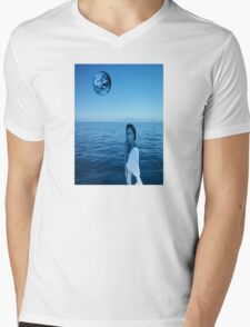 Woman in blue Mens V-Neck T-Shirt