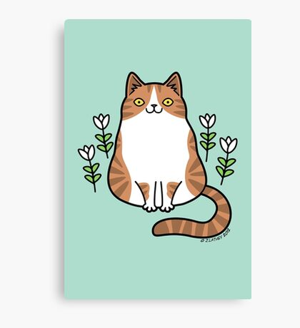 Brown and White Cat with Flowers Canvas Print