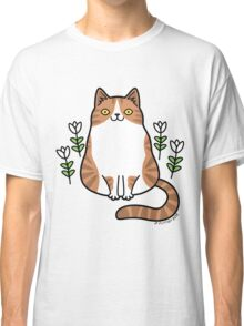 Brown and White Cat with Flowers Classic T-Shirt