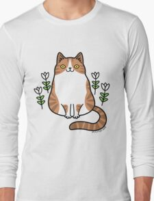 Brown and White Cat with Flowers Long Sleeve T-Shirt