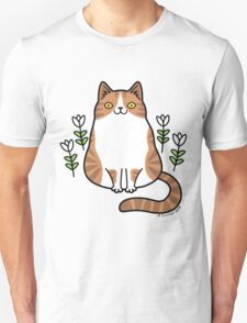 Brown and White Cat with Flowers T-Shirt