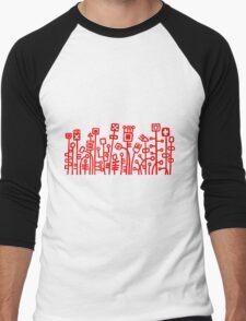 Cyber Garden - Red Men's Baseball ¾ T-Shirt