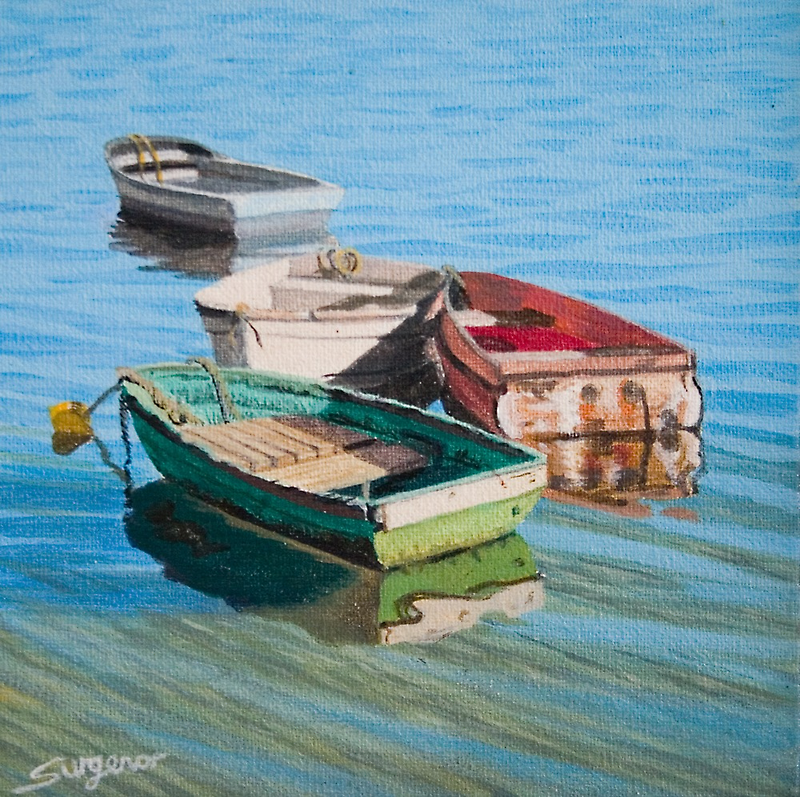 Four dinghies by Freda Surgenor