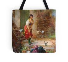Vintage Girls and birds Tote Bag