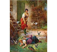 Vintage Girls and birds Photographic Print