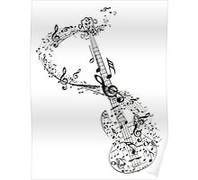 Guitar and Music Notes Poster