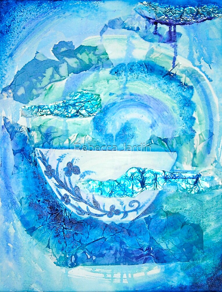 Arrival to China- blue and White by Rebecca Jardin