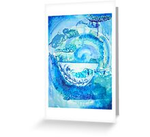 Arrival to China- blue and White Greeting Card