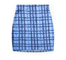 Blue Plaid Knitting Mini Skirt