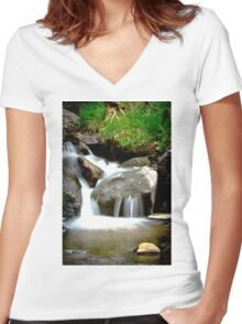 Silky Flow Women's Fitted V-Neck T-Shirt