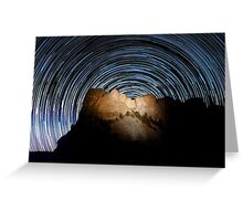 Star trails over Mount Rushmore National Memorial Greeting Card